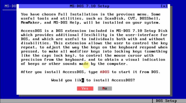 Cистема ms-dos 7.10 - AccessDOS installation.