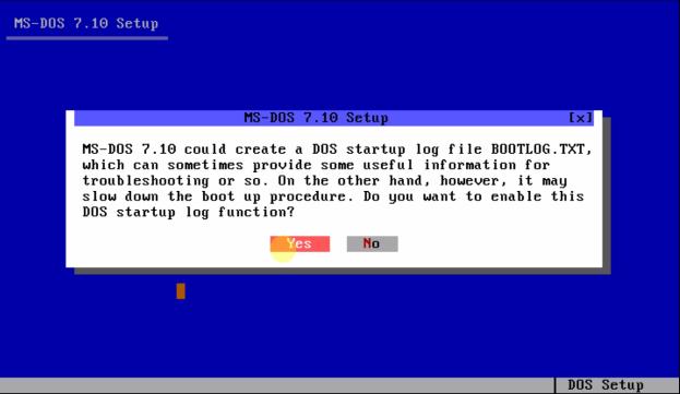 Загрузочный диск ms-dos - включаем ведение BOOTLOG.TXT.
