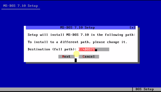 Система ms-dos 7.10 директория установки.