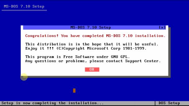 Загрузочный диск ms-dos - завершение установки.