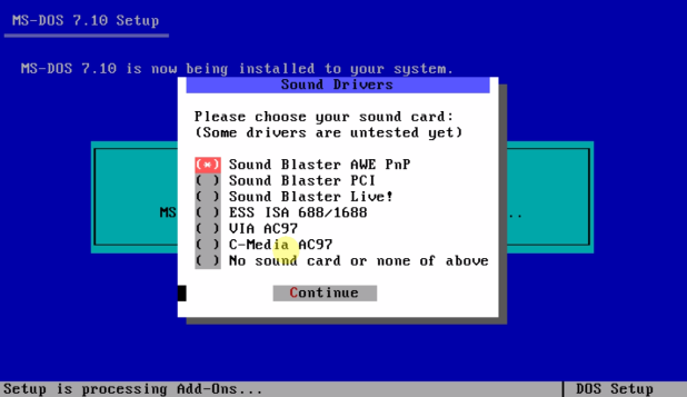 Установка MS-DOS драйверов к звуковухе.