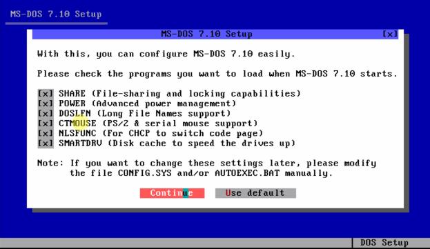 Загрузочный диск ms-dos - подтверждаем выбор.
