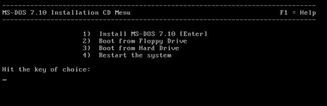 Система ms-dos 7.10 начинаем установку.