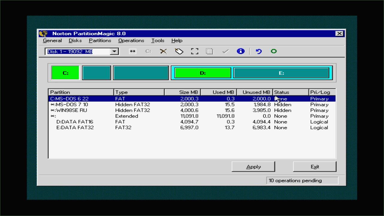 Несколько операционных систем на одном компьютере : MS-DOS 6.22, MS-DOS 7.10, Windows 98.