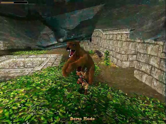 Лара Крофт в MS-DOS игре Tomb Raider 1996.